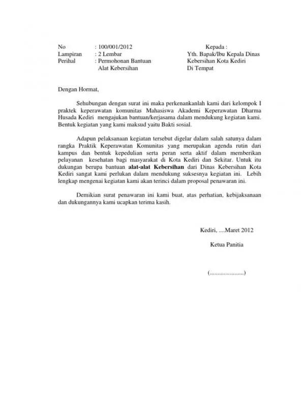 Contoh Surat Permohonan Kerjasama Penyediaan Tenaga Kebersihan
