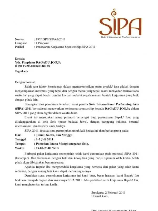 Contoh Surat Permohonan Kerjasama Sponsor
