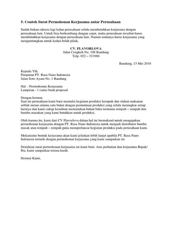 Contoh Surat Permohonan Kerjasama Untuk Modal Usaha