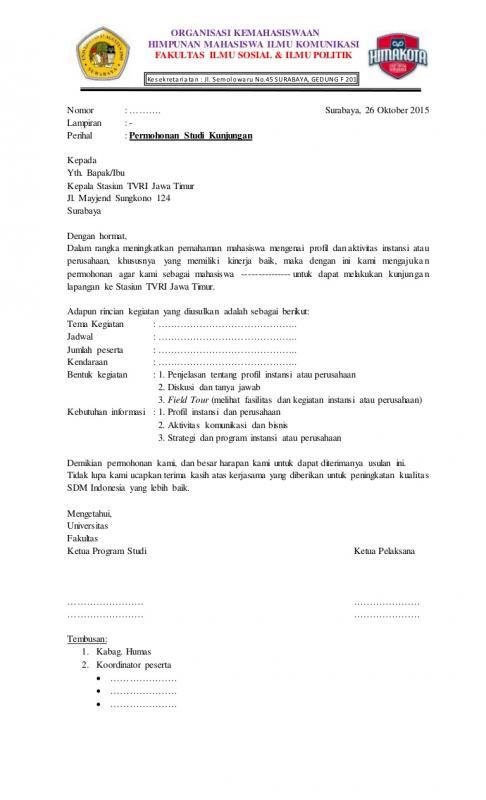 Contoh Surat Permohonan Kunjungan Industri