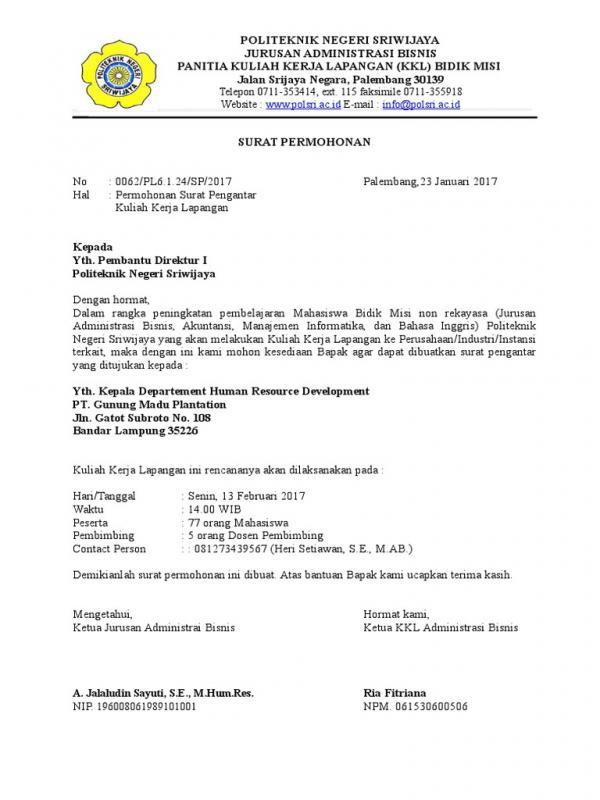 Contoh Surat Permohonan Kunjungan Untuk Kuliah Kerja Lapangan KKL