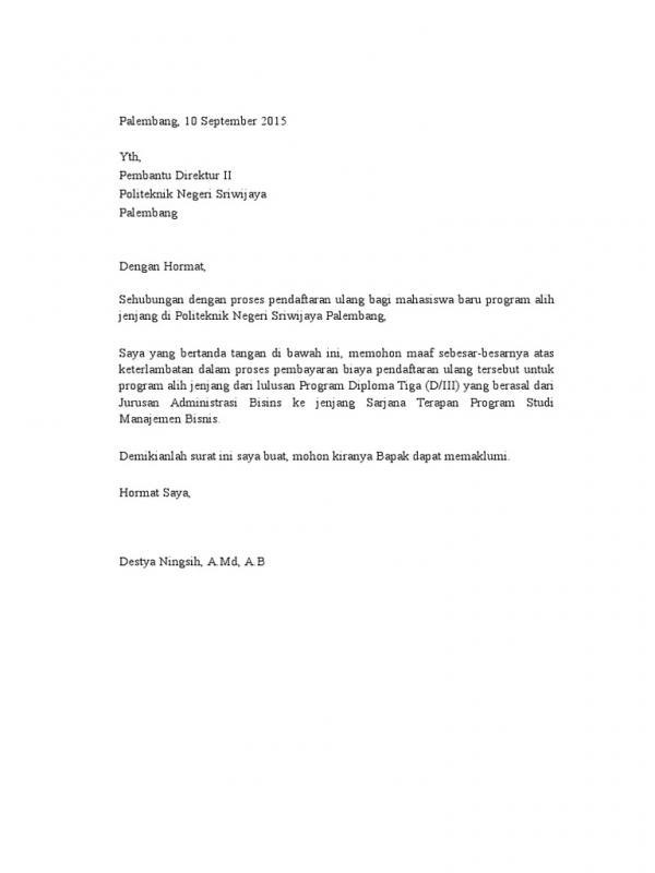 Contoh Surat Permohonan Maaf Keterlambatan