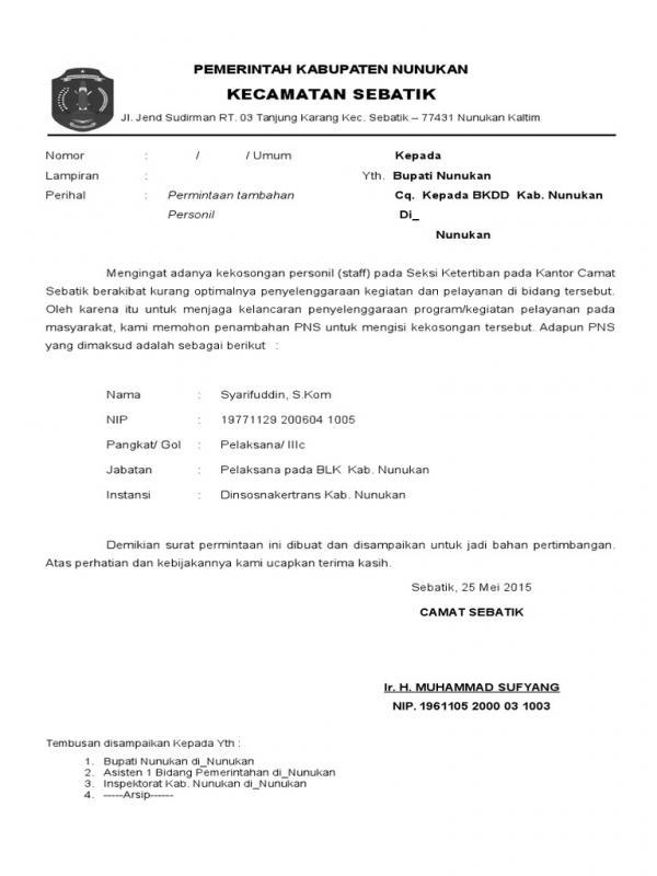 Contoh Surat Permohonan Mutasi Mengisi Kekosongan Jabatan