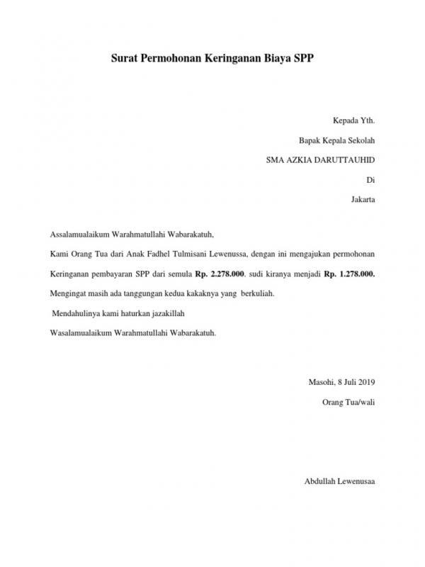 Contoh Surat Permohonan Pembayaran Sekolah