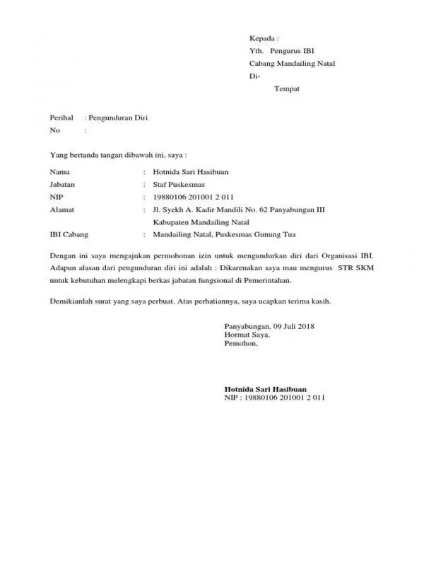 Contoh Surat Permohonan Pengunduran Diri
