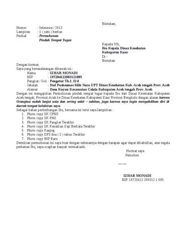 Contoh Surat Permohonan Pindah Tugas Antar Provinsi 1