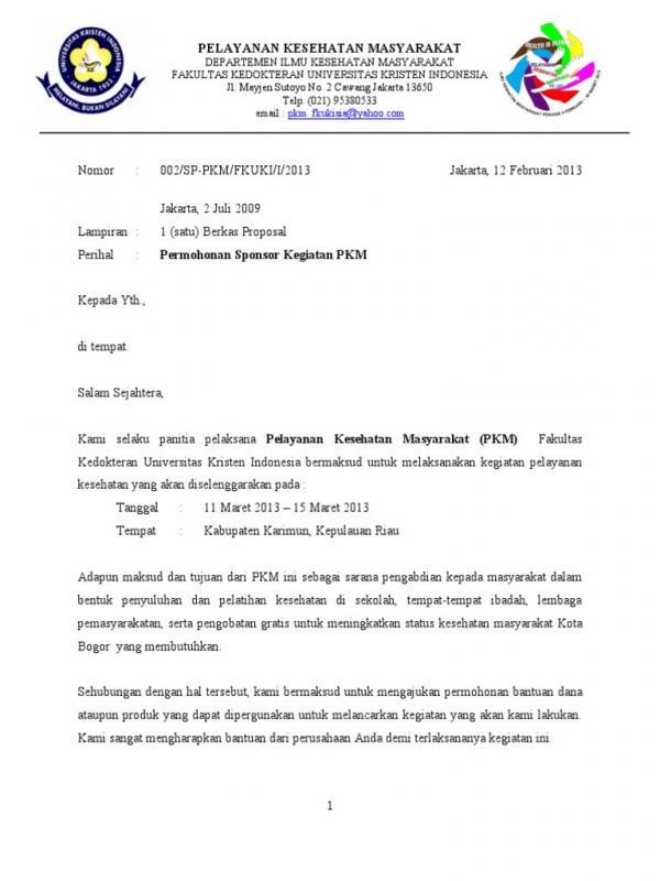 Contoh Surat Permohonan Sponsor Gathering Perusahaan