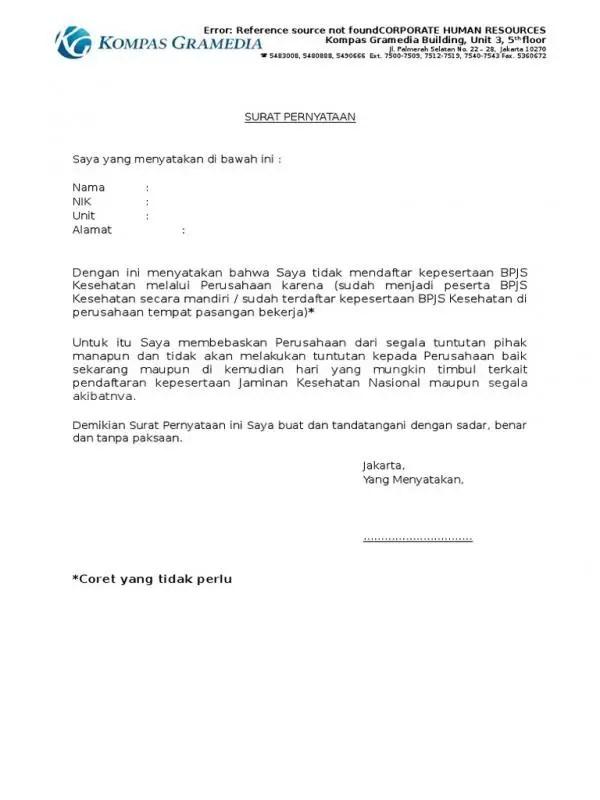 Contoh Surat Pernyataan Ketidak Ikut Sertaan BPJS Kesehatan Perusahaan