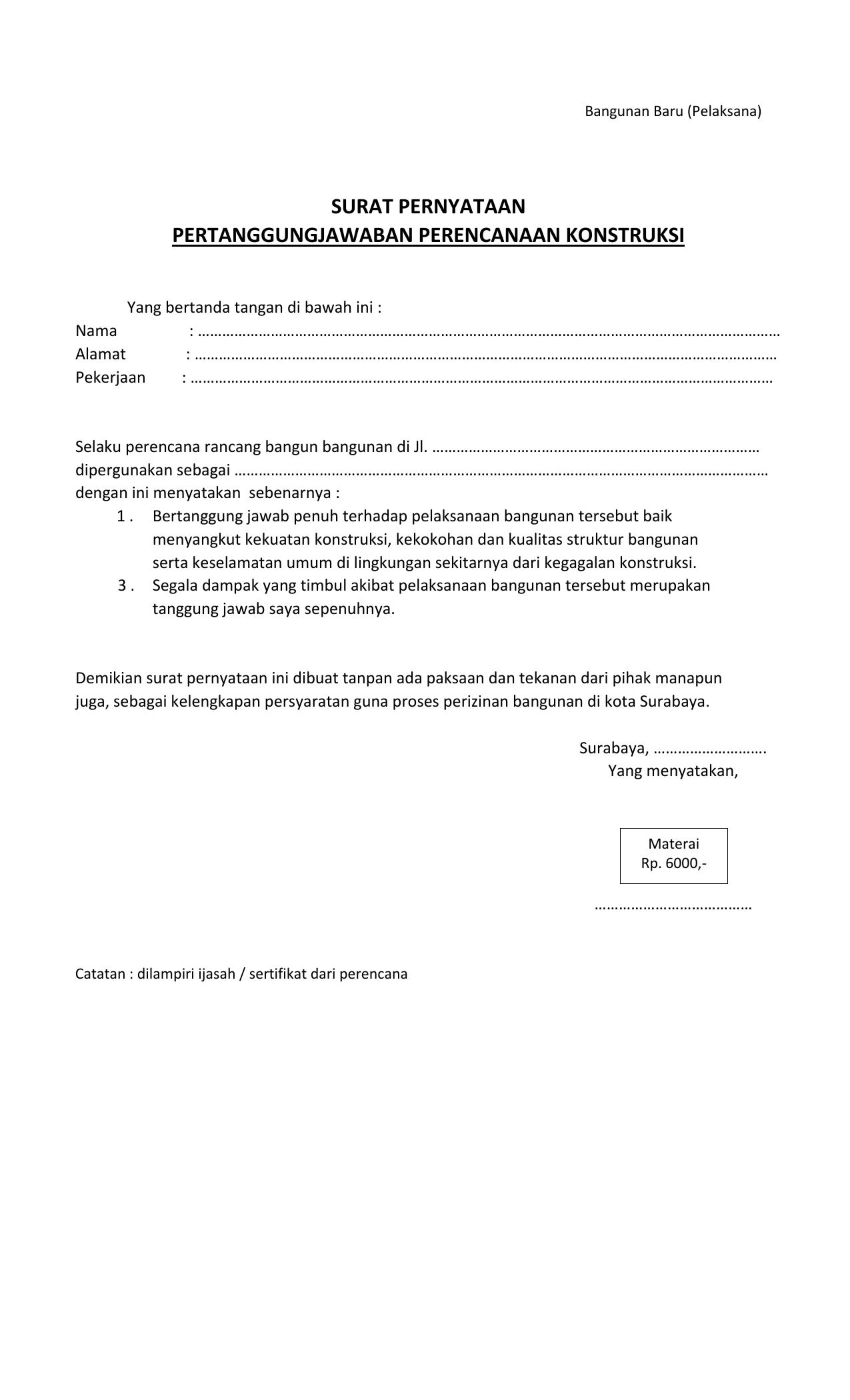 Contoh Surat Pernyataan Perjanjian Pertanggungjawaban Kerja
