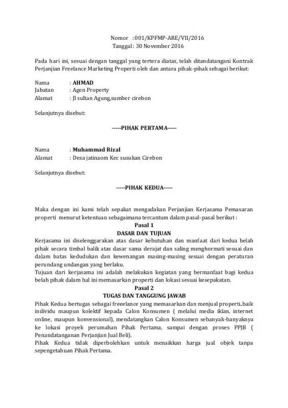 Contoh Surat Pernyataan Perjanjian Pertanggungjawaban Properti