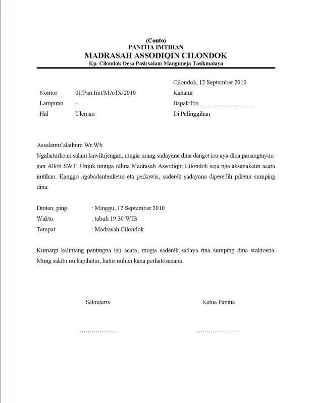 Contoh Surat Resmi Dalam Bahasa Sunda Uleman Rapat Imtihan