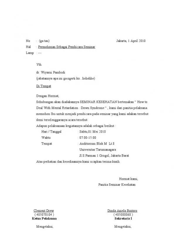 Contoh Surat Undangan Resmi Pembicara Seminar Kampus