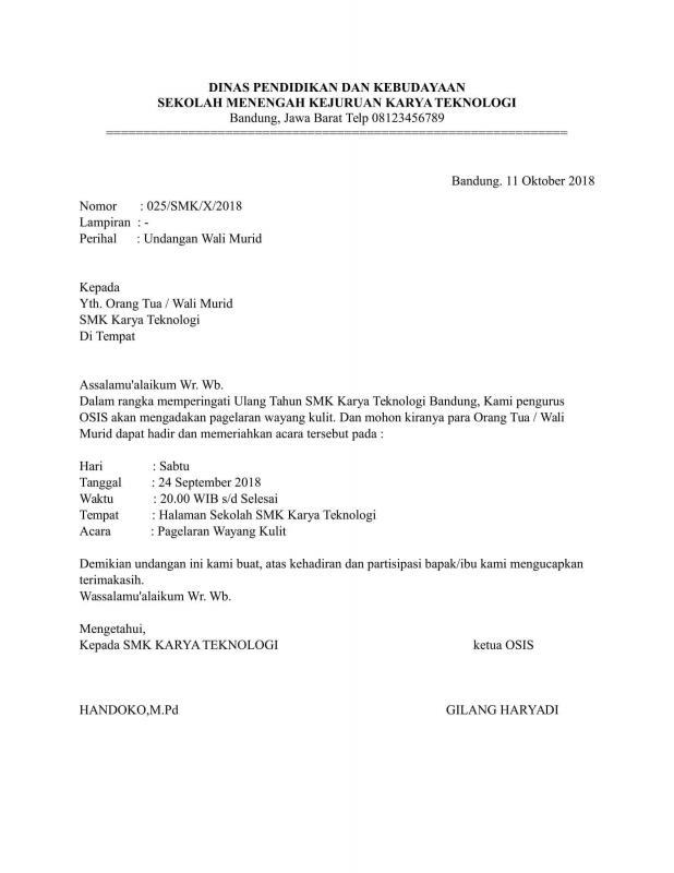 Contoh Surat Undangan Resmi Rapat Orang Tua Murid