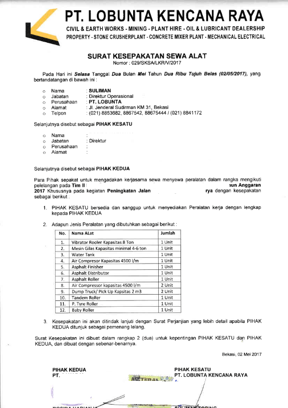 Referensi Surat Permohonan Untuk Meminta Dukungan Material Kepada Supplier