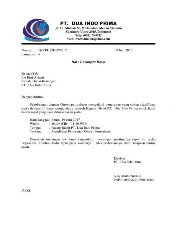 Surat Dinas Resmi Undangan Melakukan Training Di Sebuah Perusahaan