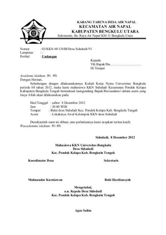 Surat Dinas Resmi Undangan Rapat Dari Perusahaan