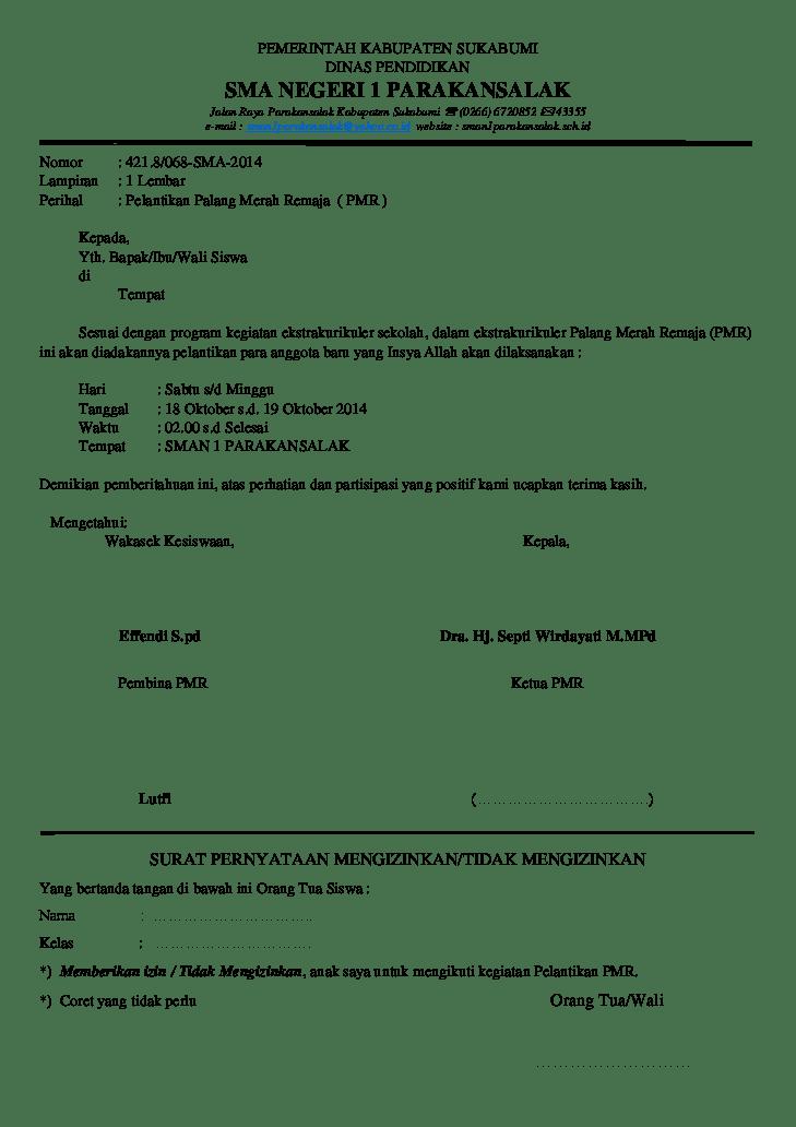 Surat Izin Mengikuti Kegiatan Pelantikan Ekskul PMR