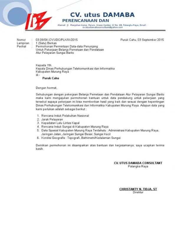 Surat Izin Permohonan Data Untuk Tugas Akhir Ke Perusahaan