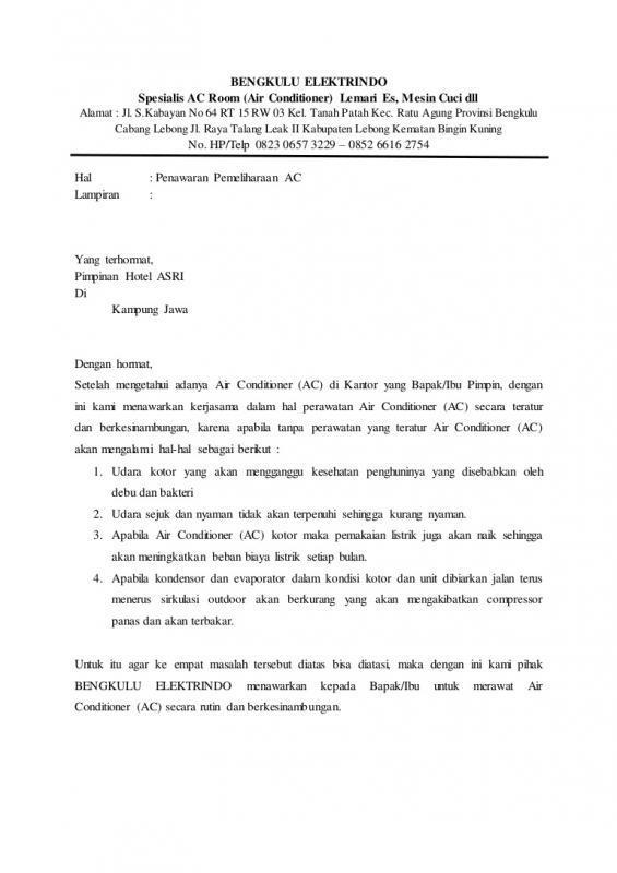 Surat Penawaran Jasa Service Air Conditioner AC