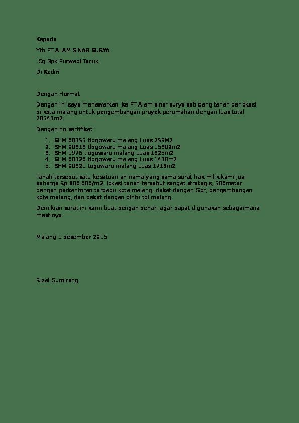 Surat Penawaran Tanah Sawah