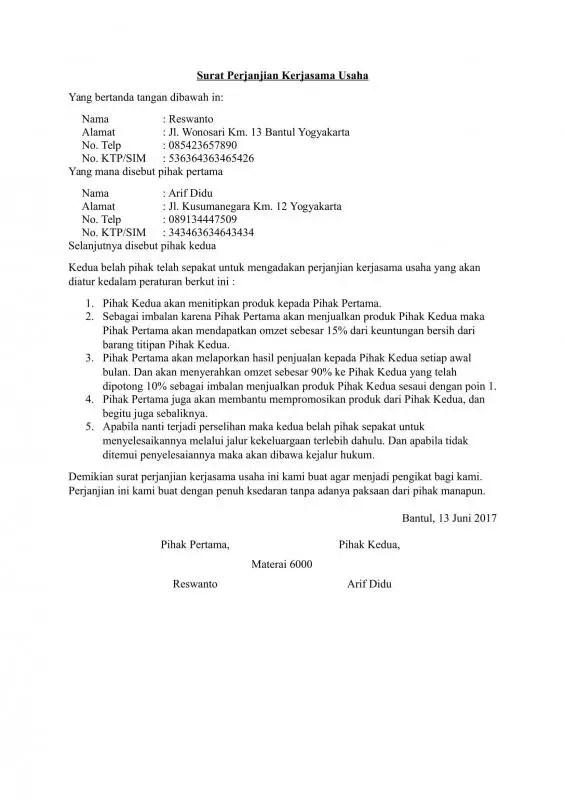 Surat Perjanjian Kerjasama Supplier Barang