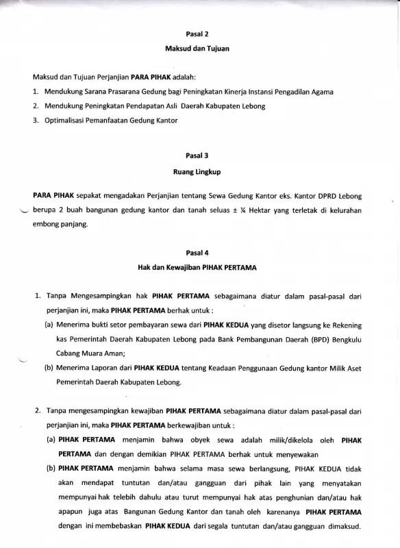 Surat Perjanjian Sewa Menyewa Gedung Pertemuan