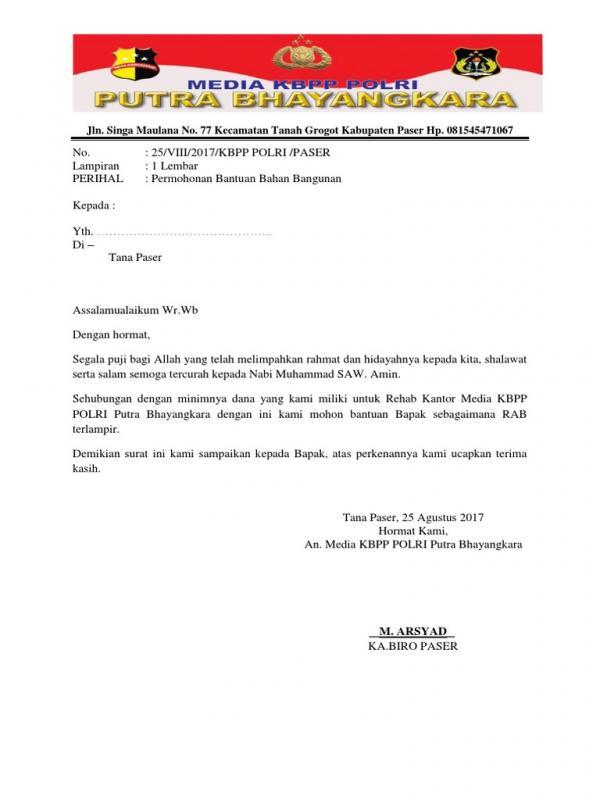 Surat Permohonan Bantuan Bahan Bangunan