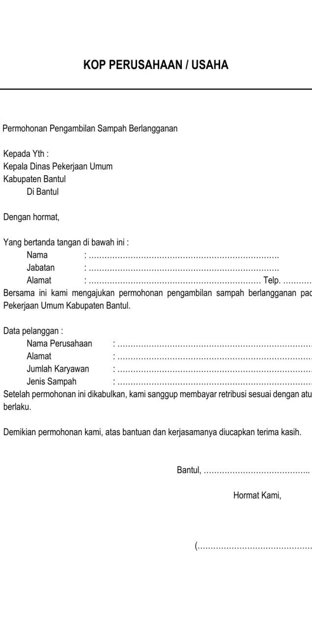 Surat Permohonan Dinas Perusahaan