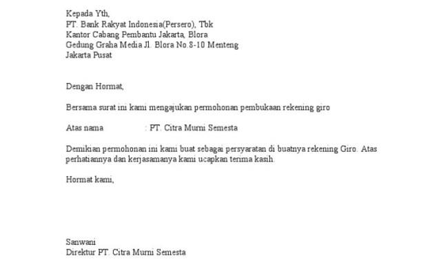 Surat Permohonan Pembukaan Rekening Giro Bank Rakyat Indonesia BRI