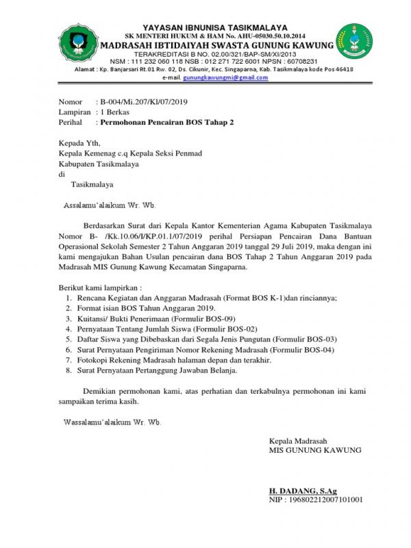 Surat Permohonan Pembukaan Rekening Giro Untuk Pencairan Dana BOS