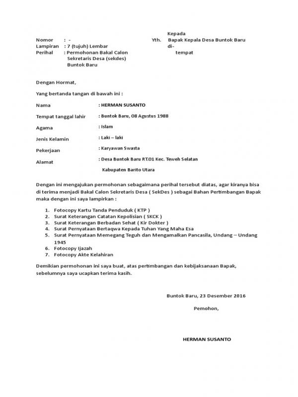 Surat Permohonan Menjadi Sekretaris Desa
