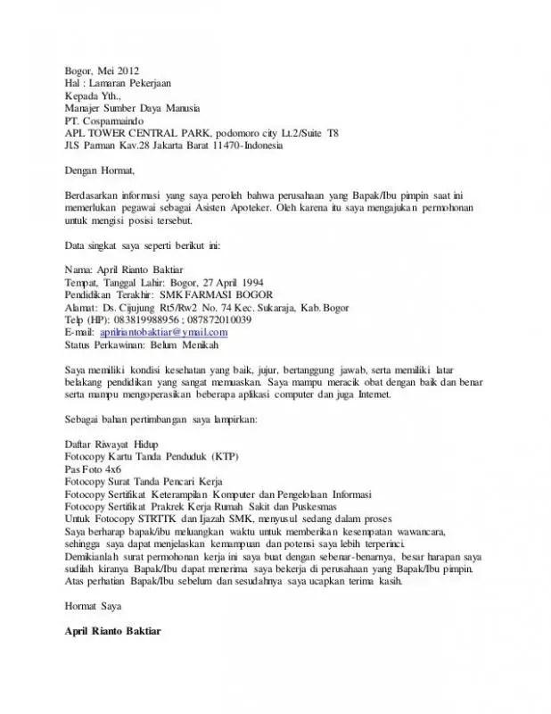 Contoh Surat Lamaran Kerja Via Email Untuk Apoteker