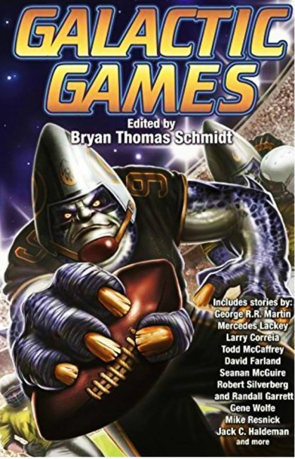 """Earth, Corner Pocket"" by Lezli Robyn, published in GALACTIC GAMES by BAEN. Edited by Bryan Thomas Schmidt. Cover by Domic Harman. (United States, June 2016)"