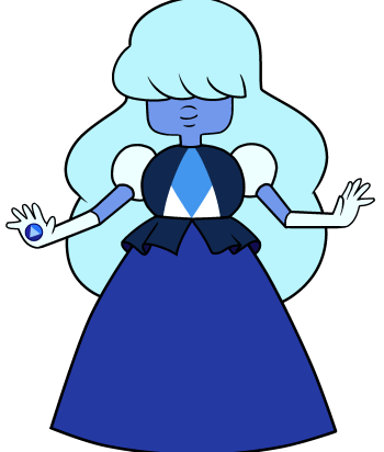 Sapphire - Sapphire was a rare aristocratic Homeworld Gem who ran away with one of her Ruby soldiers after they fell in love, fused, became Garnet and joined the Crystal Gems.