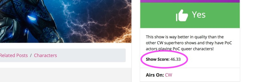 Scoring queer shows: An example of where the show score can be found on a show page (sidebar - right side, just below 'worth it')