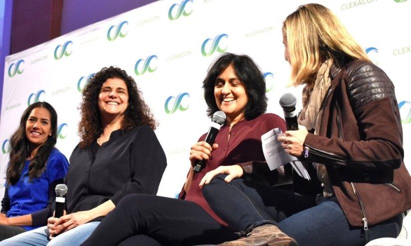 Sheetal Sheth, Hanan Kattan, Shamim Sarif, and interviewer Christin Tello (of Tello Films)