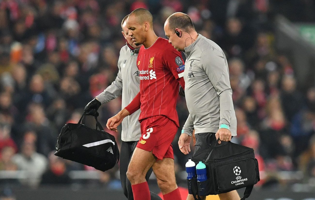 Fabinho leaves Anfield in protective boot after worrying ankle injury