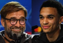 Jurgen Klopp and Trent Alexander-Arnold - Atletico Madrid vs Liverpool