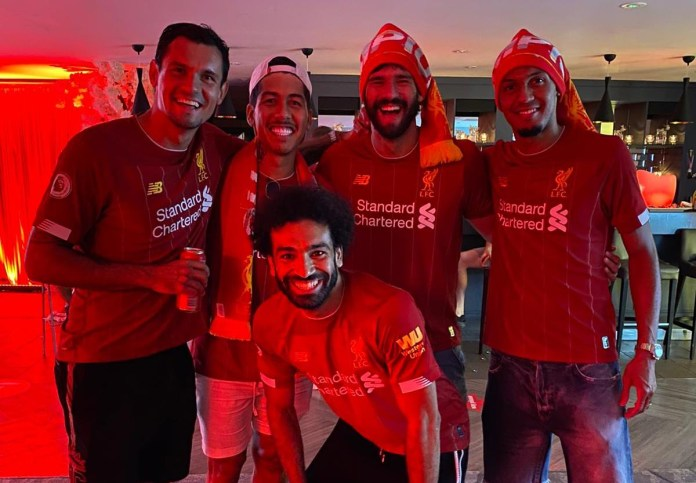 Liverpool Players Celebrate Premier League Win