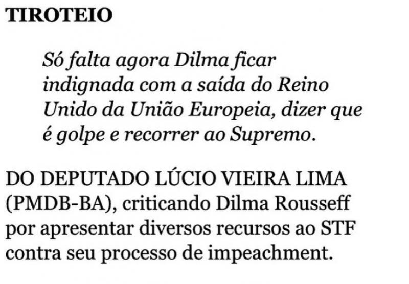 Deputado ironiza: só falta Dilma dizer que é golpe saída do Reino Unido da UE