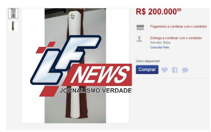 Tocha Olímpica é vendida na internet por até R$ 200 mil
