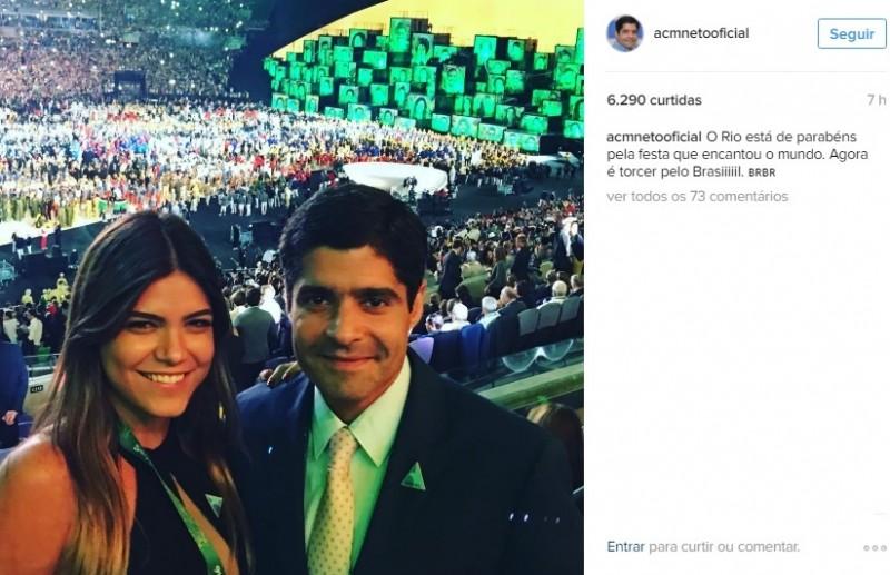 Após pressão na escolha do vice, ACM Neto curte abertura das Olimpíadas no Rio