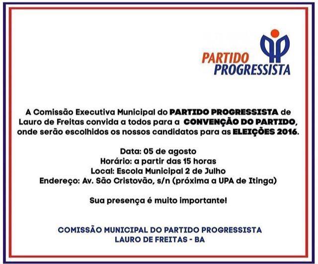PP de Lauro de Freitas realiza convenção nesta sexta, 05