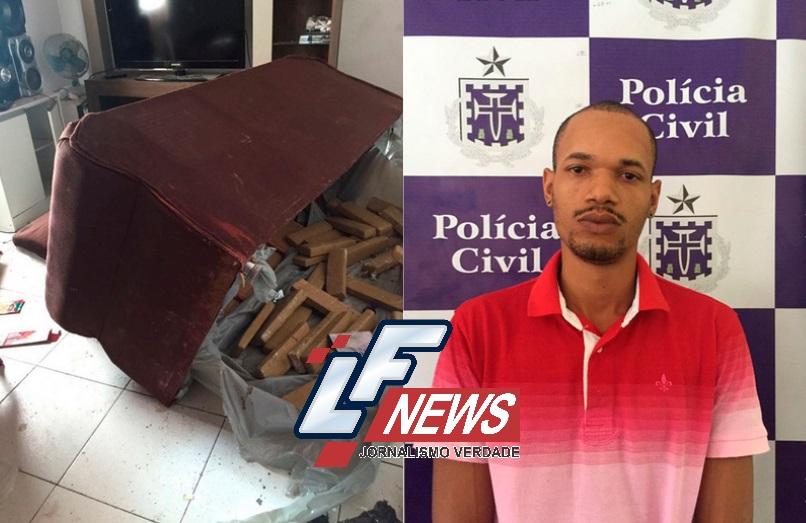 Após denúncia, ladrão de carro é flagrado com 14 kg de cocaína no sofá de casa