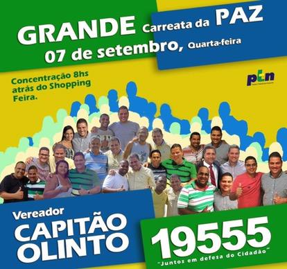 É amanhã, a grande carreata da PAZ do Capitão Olinto