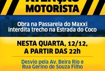 Prefeitura interdita Estrada do Coco para obras em passarela na noite desta quarta-feira (12)