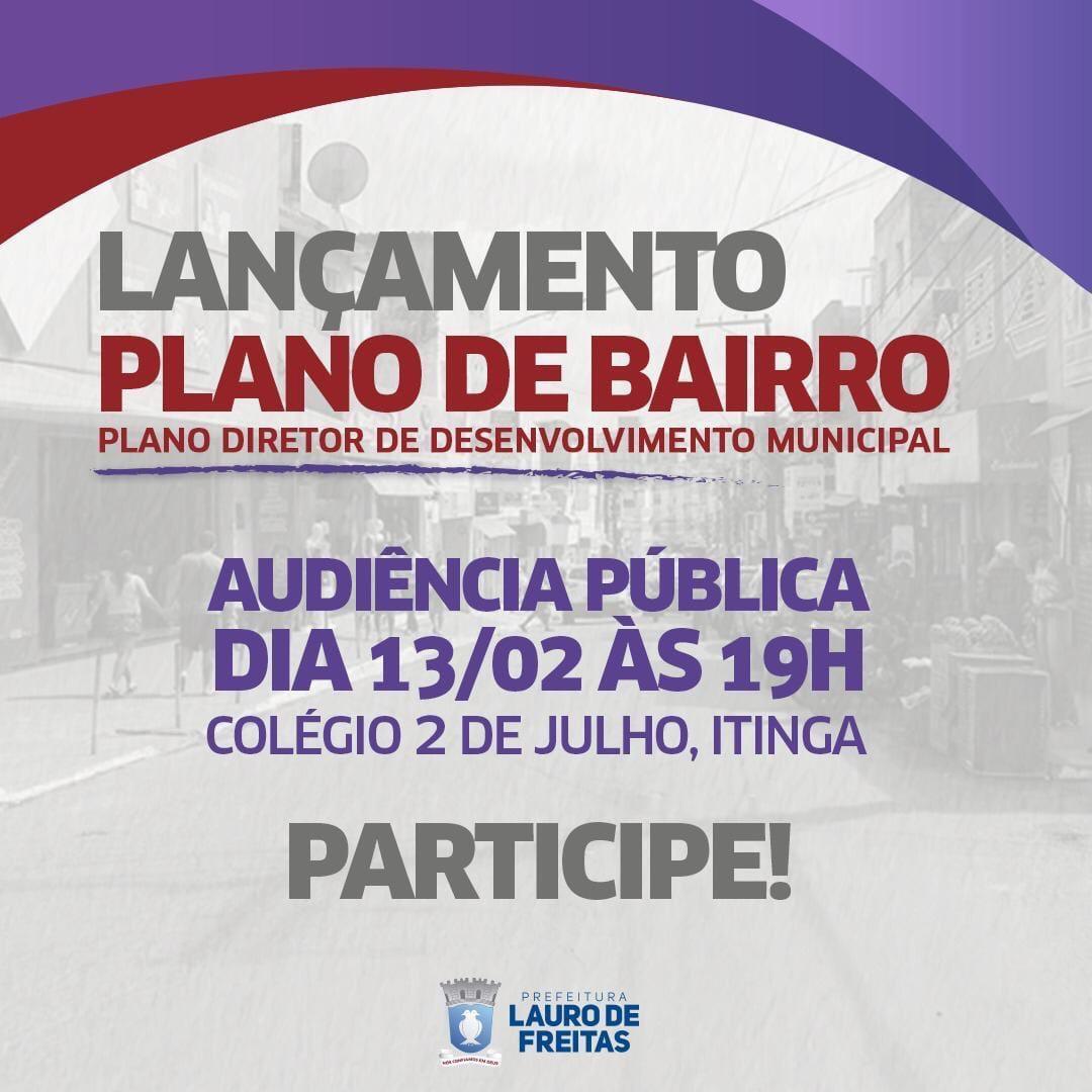 Lauro de Freitas lança Plano de Bairros em audiência pública nesta quarta (13)
