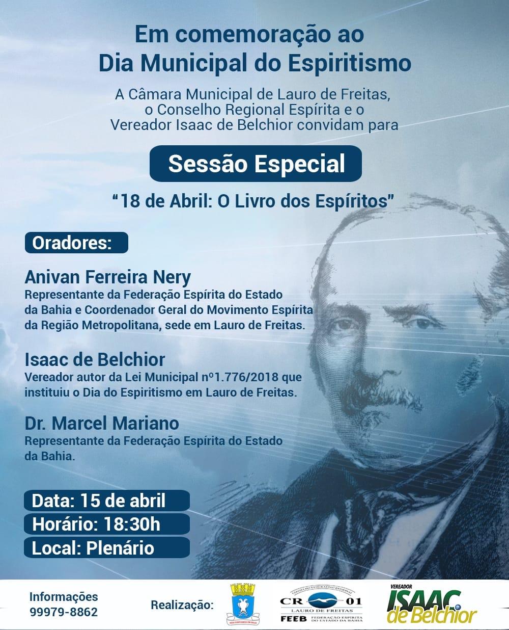 Câmara terá sessão especial em Comemoração ao Dia Municipal do Espiritismo em Lauro de Freitas