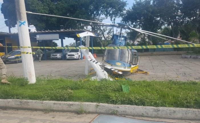 Acidente com helicóptero da Polícia Rodoviária Federal deixa um ferido em Eunápolis; veja vídeo