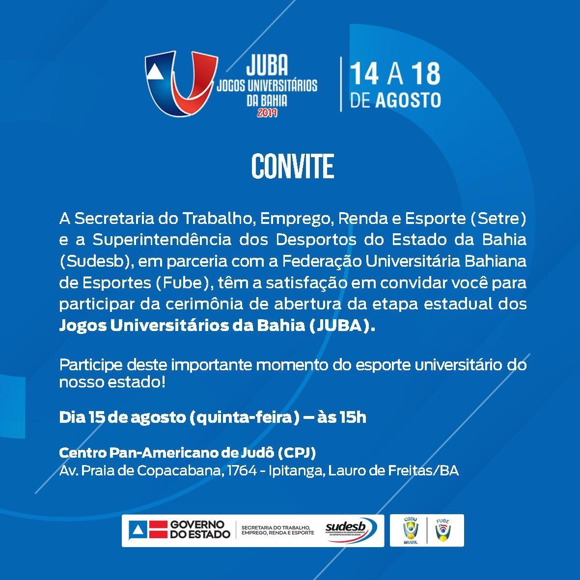 Lauro de Freitas vai ser a capital do esporte universitário baiano de 14 a 18 de agosto